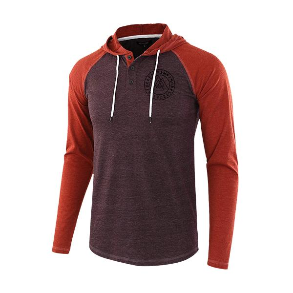 Lässige lose Henry Stitching Color Triangle Hoodie für Herren