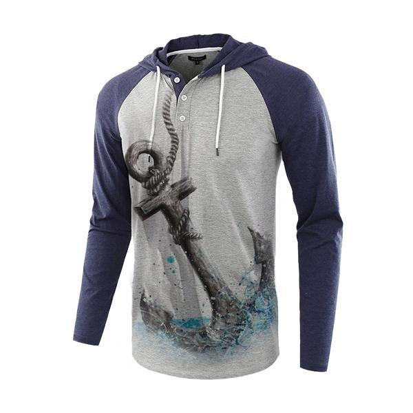 Lässige lose Henry Stitching Color Anchor Hoodie für Herren