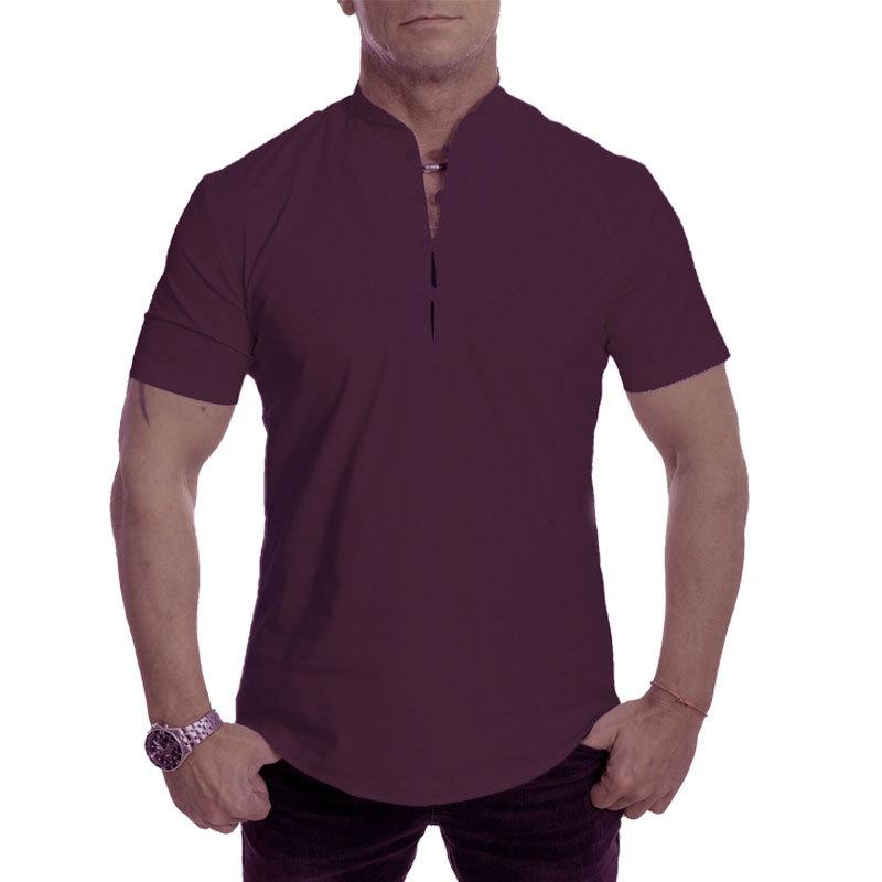 Herren Stand Kragen Plain Button Sommer Loose Shirt