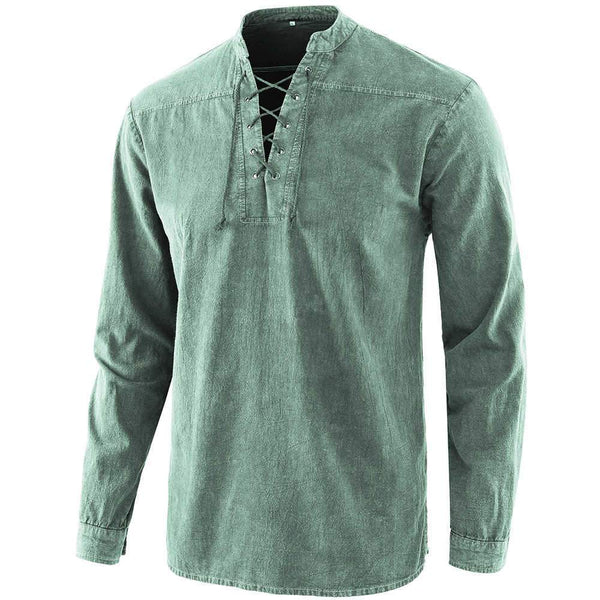 2020 Herren Gothic Retro Schnür-Denim Loose Basic Shirt
