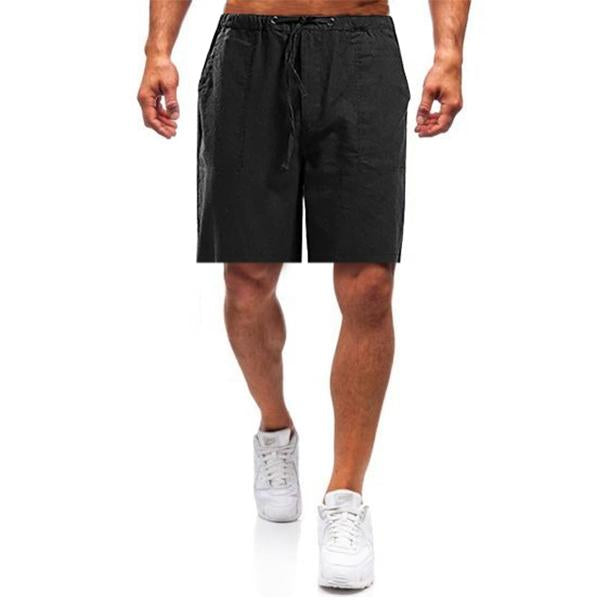 2020 Einfarbige gerade Leinenhose Loose Fit Homewear Leisure Herrenhose