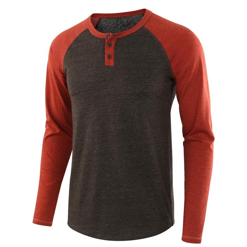 Casual Loose Henry Stitching Color Shirt für Herren