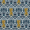 Sample of Clawdia Wallpaper in Indigo and Gold