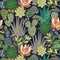 Plantopia Wallpaper in Space Blue, Shades of Green and Peach