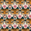 Sample of Tigerlily Wallpaper in Emerald Green, Pink and Orange