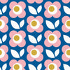 Sample of Daisy Chain Wallpaper in Cobalt Blue and Pink