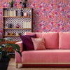 Garden of Eden Wallpaper in Punch Pink, Orangutan Orange and Cobalt Blue