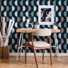 Half Moon Wallpaper in Midnight Navy, Grey and Dusty Pink