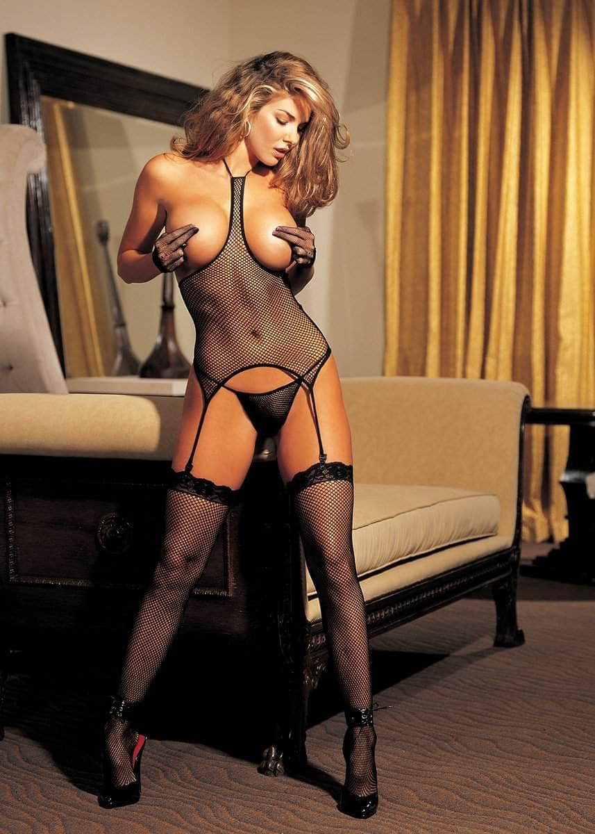 Fishnet Open-bust 3-piece Set
