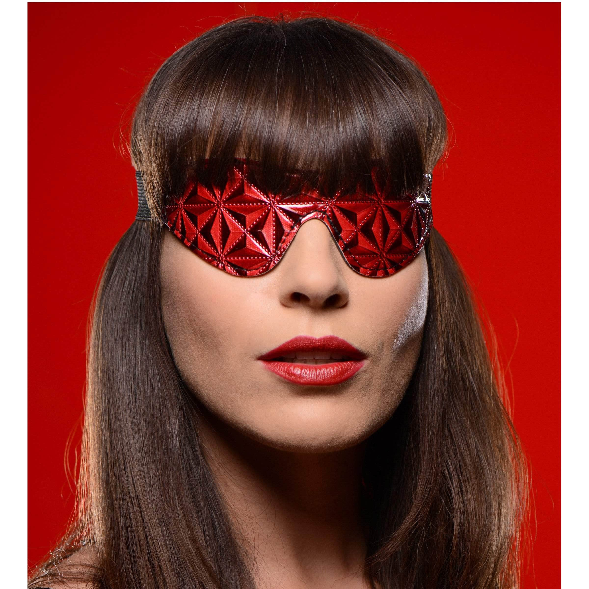 Crimson Tied Full Blackout Embossed Blindfold