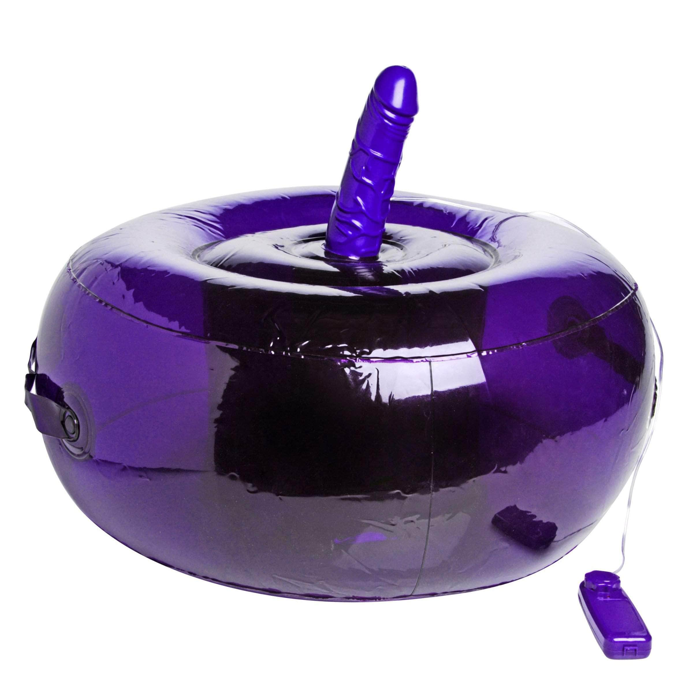 Sit-and-ride Inflatable Seat With Vibrating Dildo - Purple
