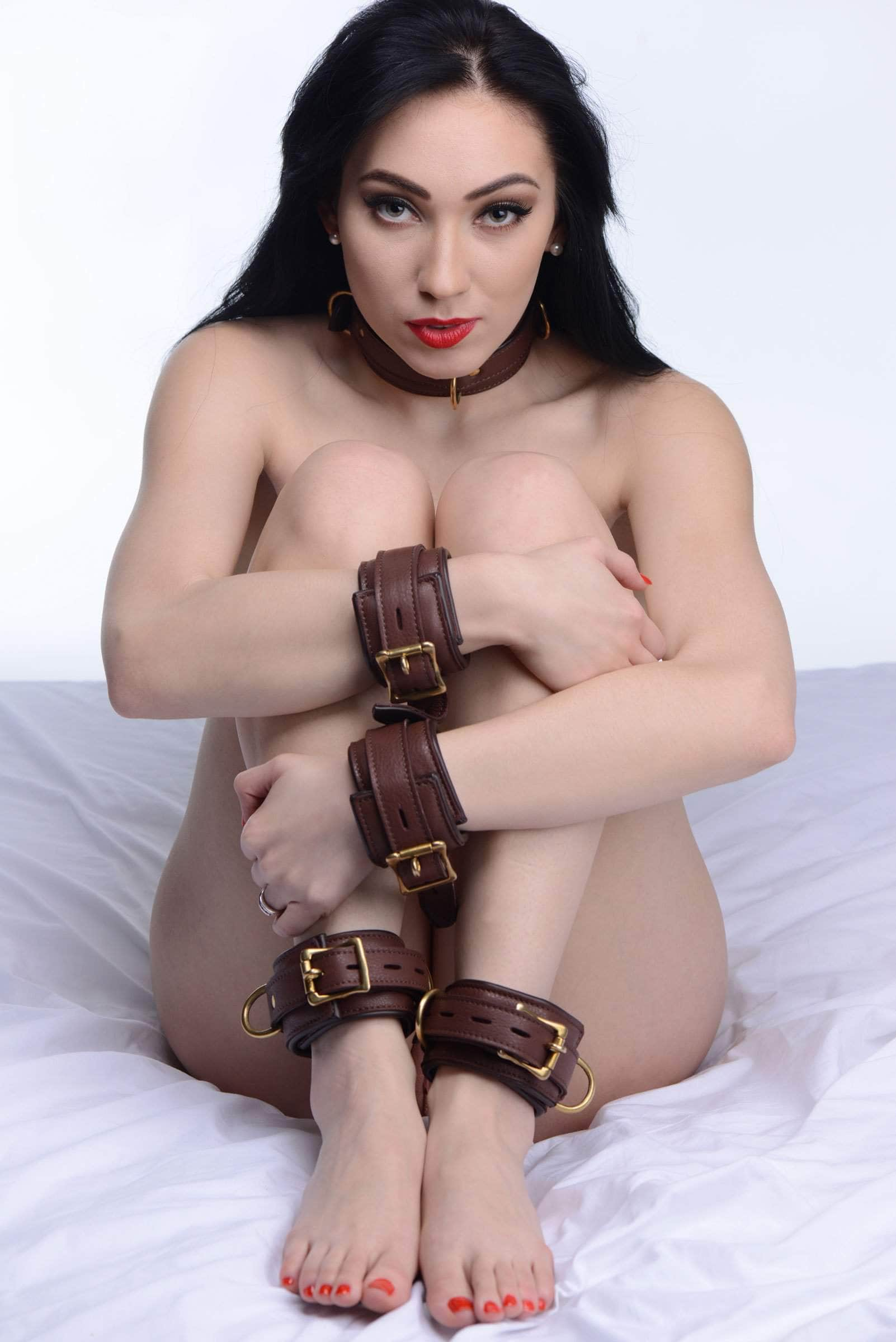 Brown 5 Piece Locking Leather Bondage Set