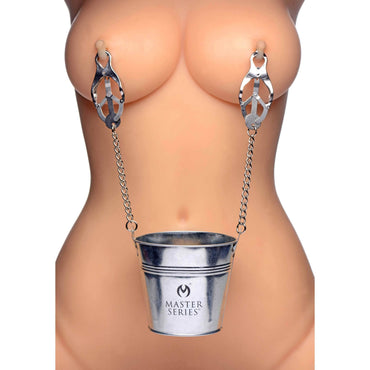 Slave Bucket Labia And Nipple Clamps
