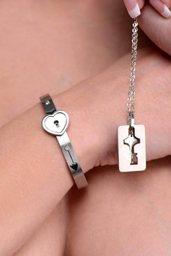 Cuffed Locking Bracelet And Key Necklace