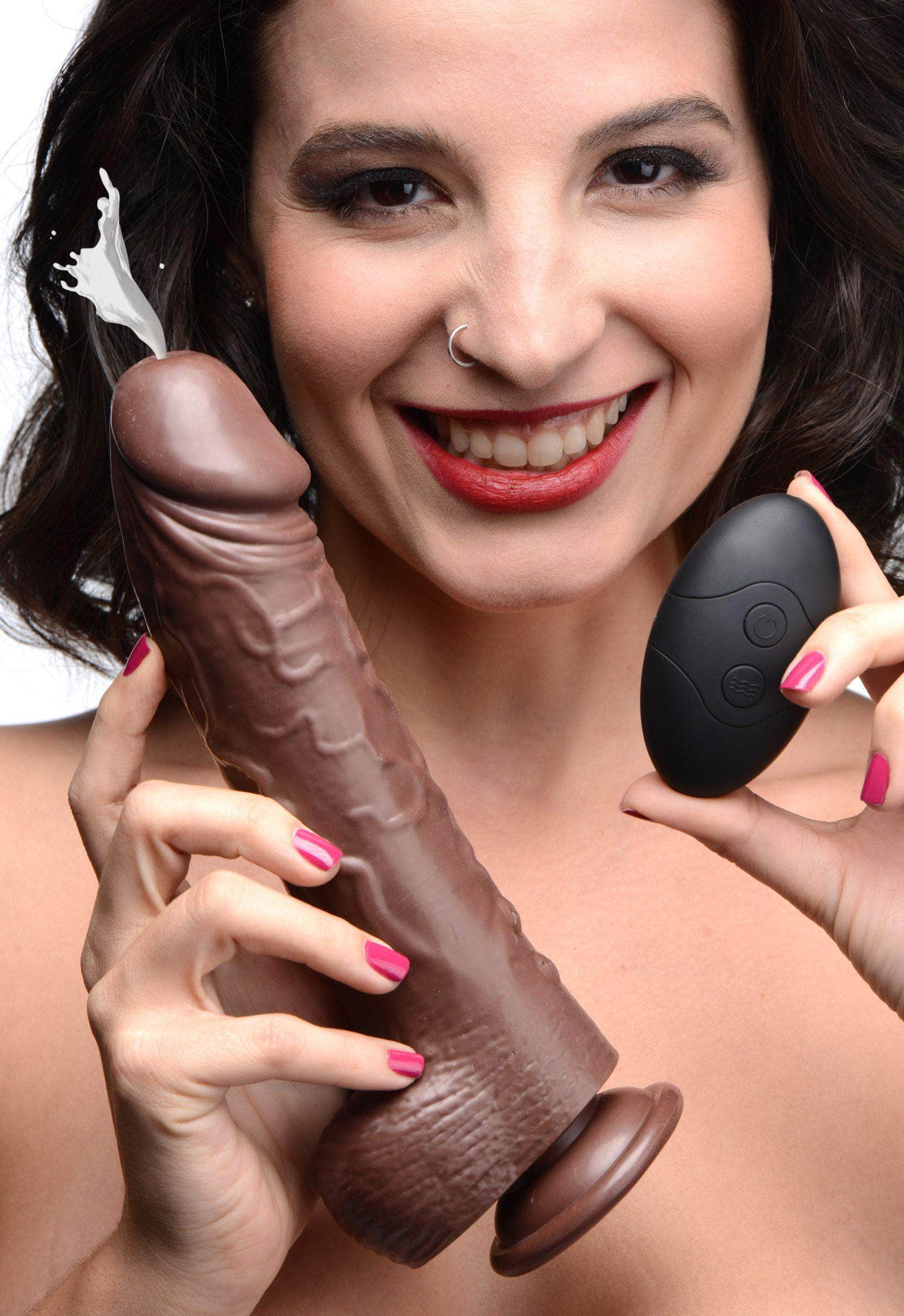 7 Inch Vibrating Squirting Dildo With Remote Control - Dark
