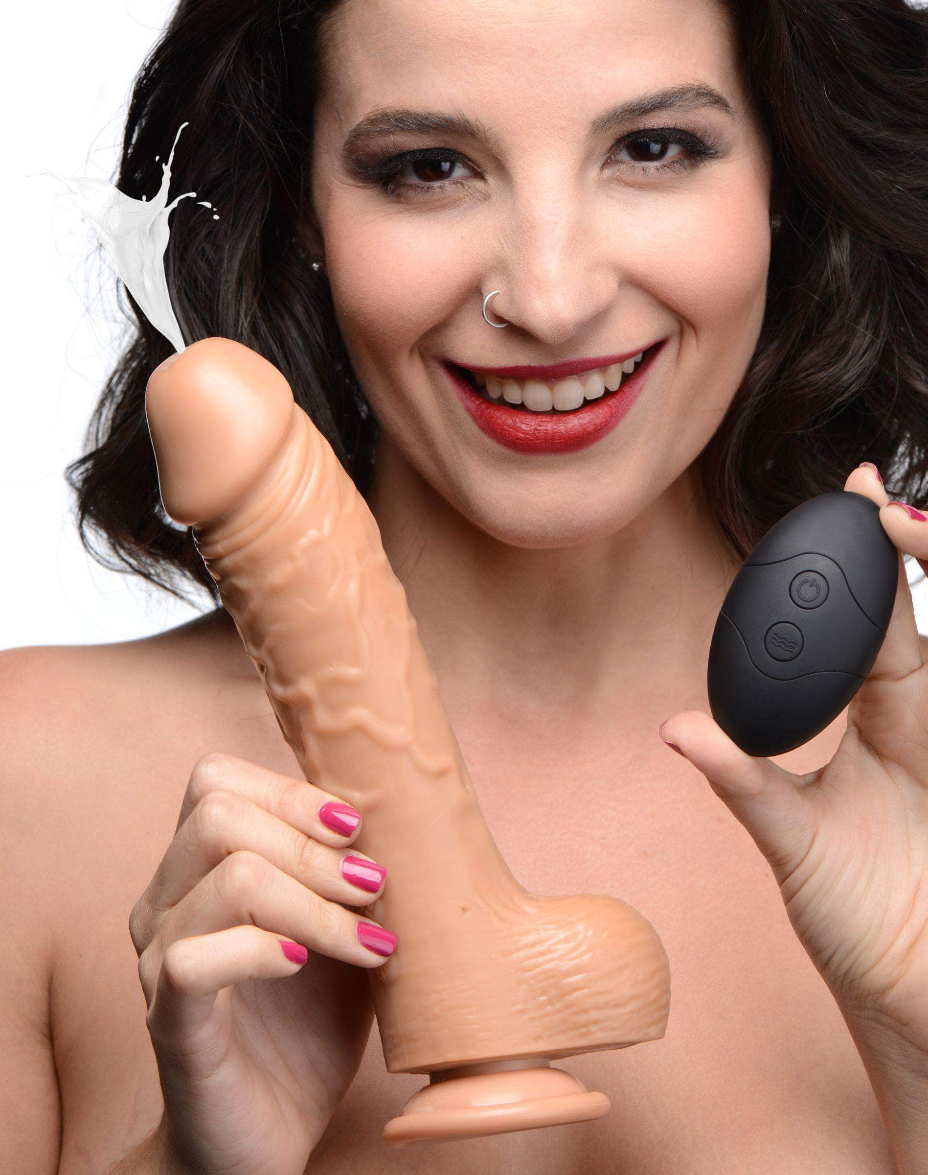 7 Inch Vibrating Squirting Dildo With Remote Control - Medium