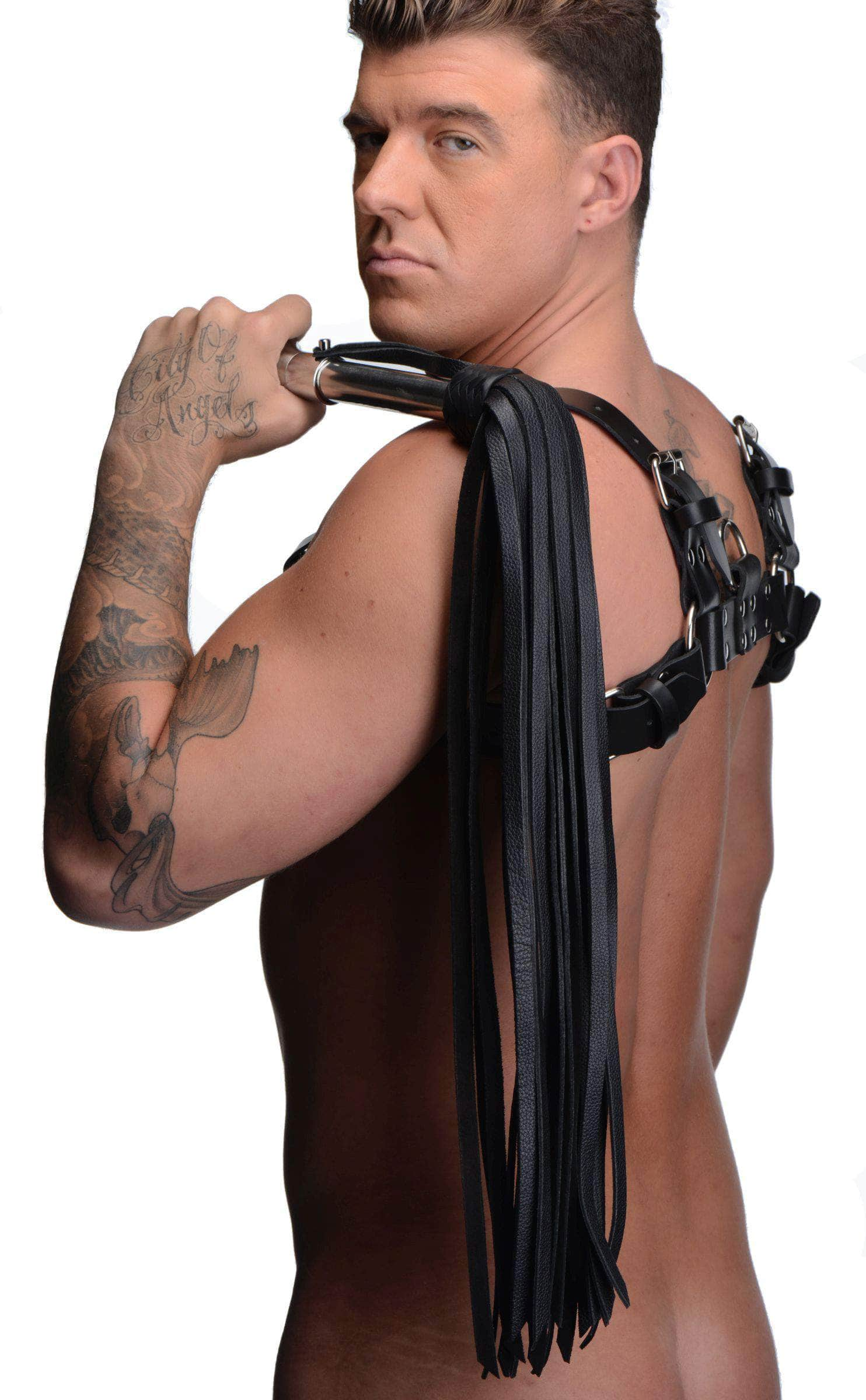 Leather Flogger With Stainless Steel Handle