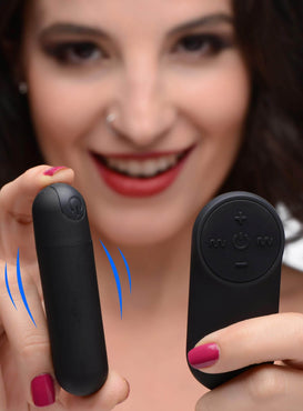 Vibrating Bullet With Remote Control - Black