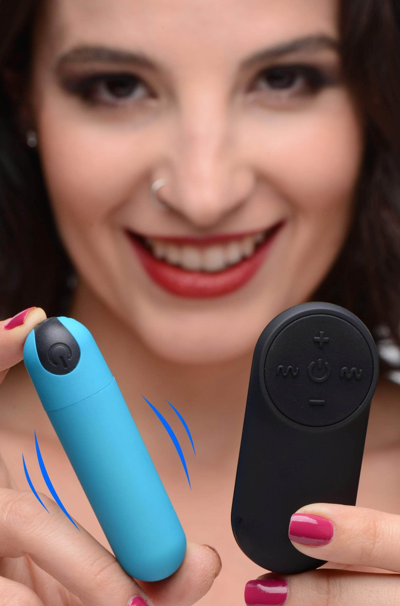 Vibrating Bullet With Remote Control - Blue