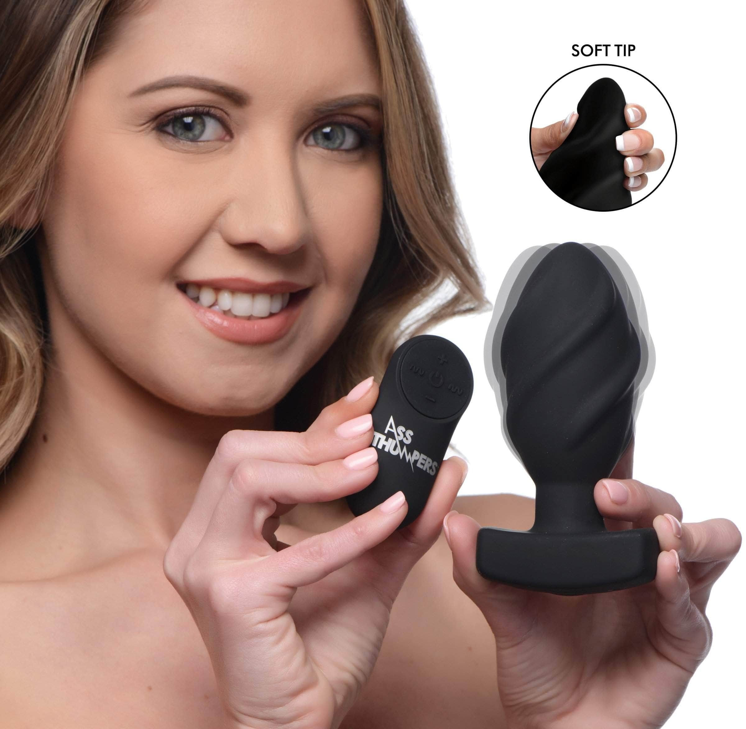 The Driller 10x Swirled Silicone Remote Control Vibrating Butt Plug