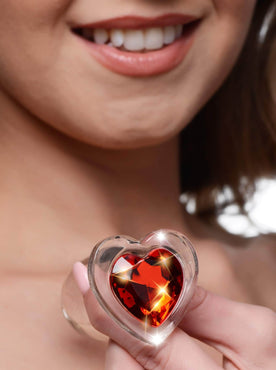 Red Heart Gem Glass Anal Plug - Large