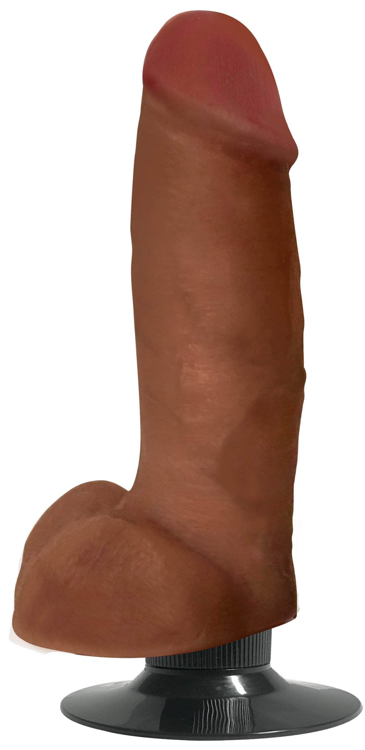 Jock Dark Bareskin Vibrating Dildo With Balls - 7 Inch