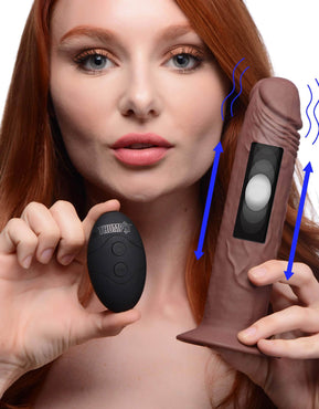 7x Remote Control Vibrating And Thumping Dildo - Dark