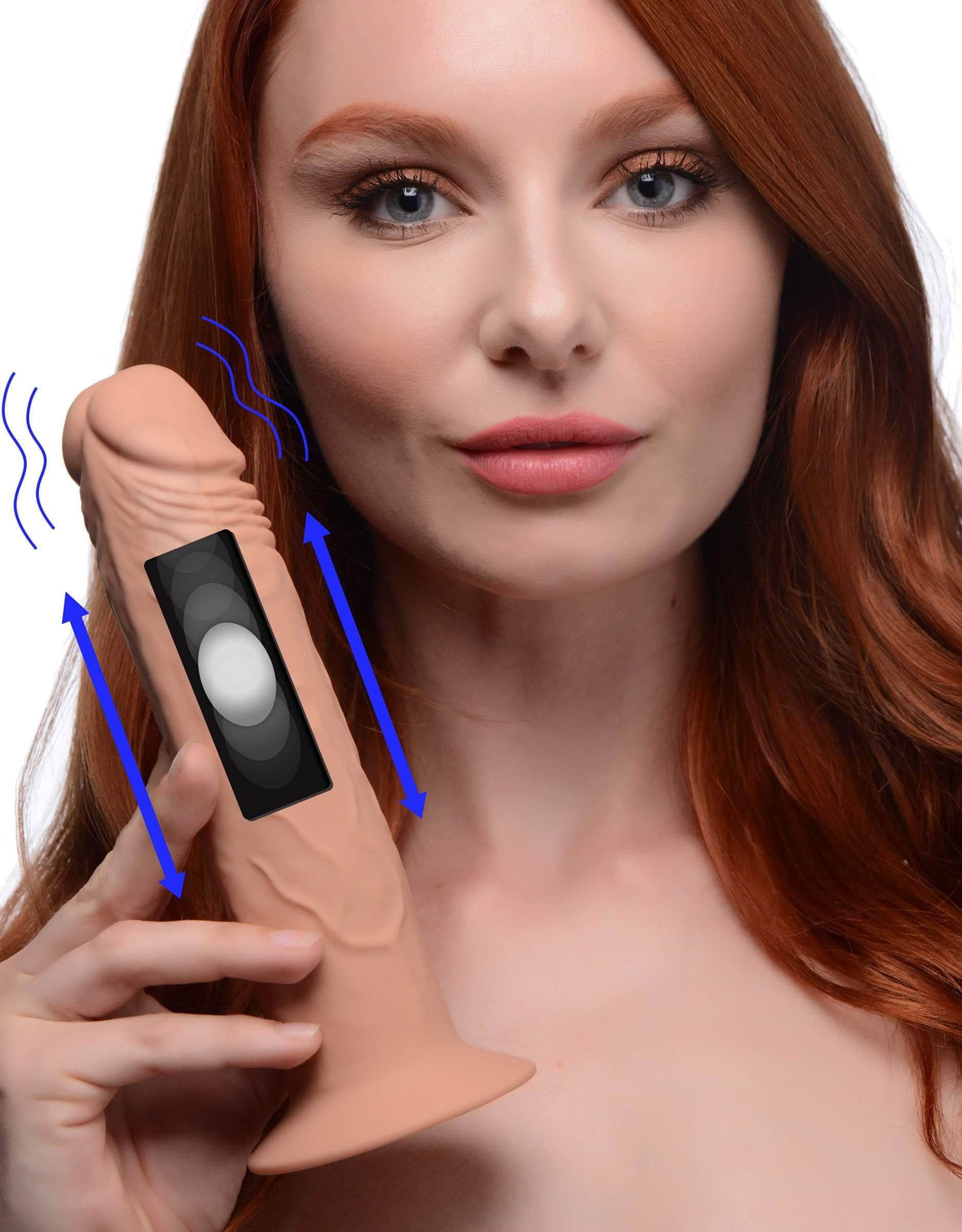 7x Remote Control Vibrating And Thumping Dildo - Medium