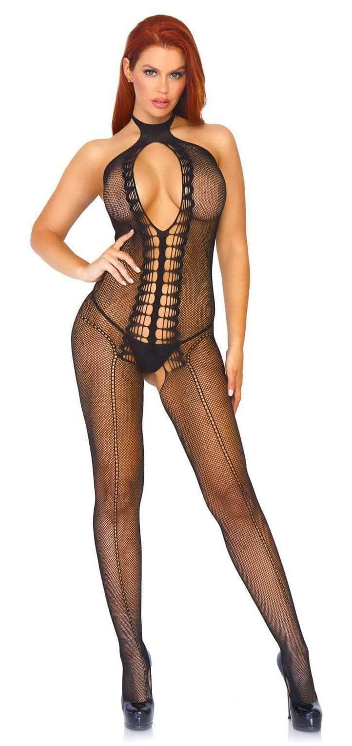 Black Crotchless Fishnet Stocking
