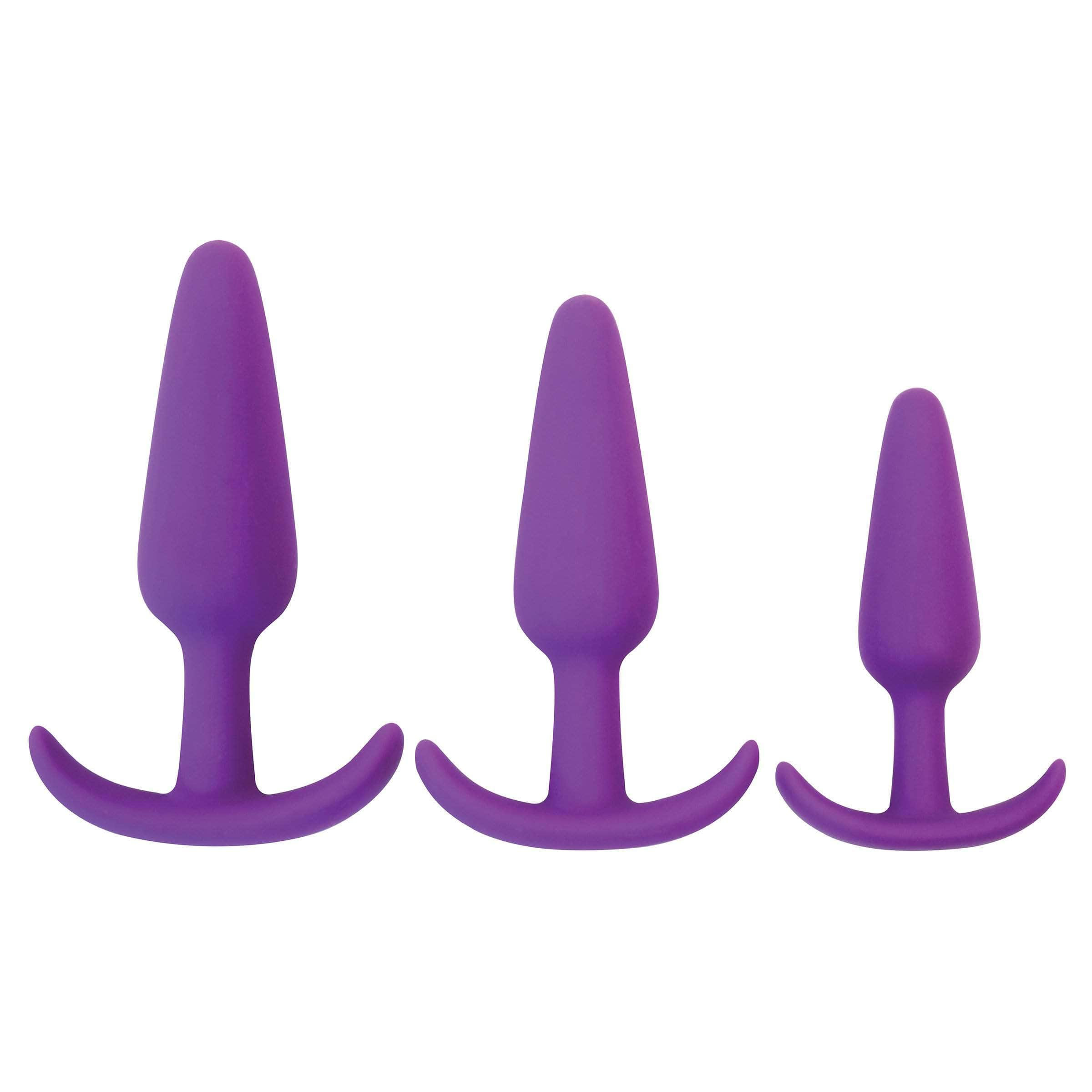 Rump Rockers 3 Piece Silicone Anal Plug Set - Purple