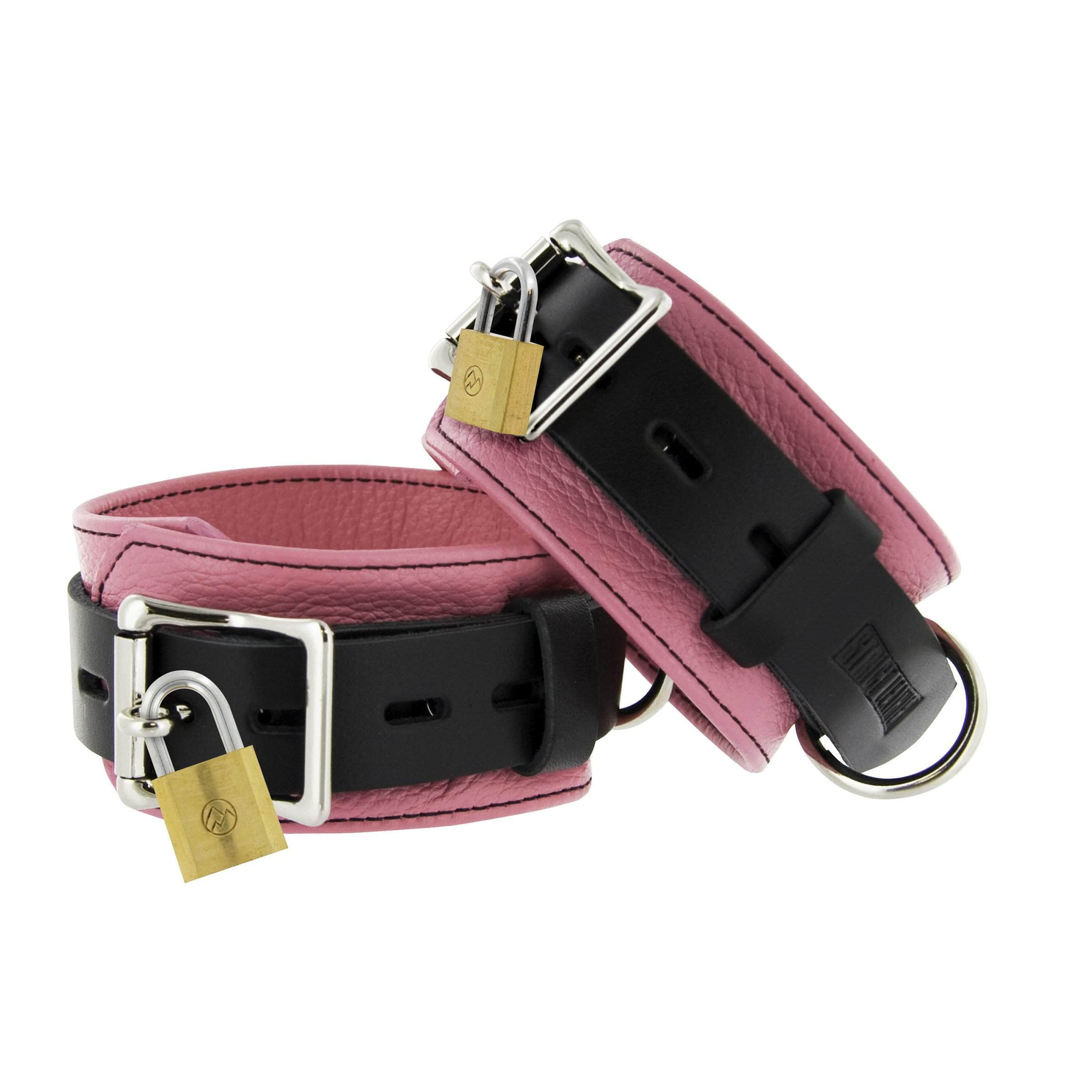 Strict Leather Pink And Black Deluxe Locking Ankle Cuffs
