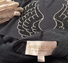Load image into Gallery viewer, Picture of front and back of the sweatshirt. Grey hoodie with silver and black angel wings on the back.