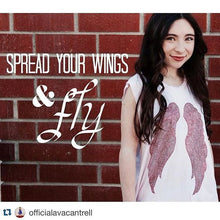 Load image into Gallery viewer, Ava Cantrell (actress) in our Sweetheart Tank! It's a baby pink tank top with red wings on the front!