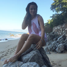 Load image into Gallery viewer, Beautiful glowing goddess Sophie Jaffe wearing our Sweetheart Tank (baby pink tank with red wings), on the beaches of Mexico.