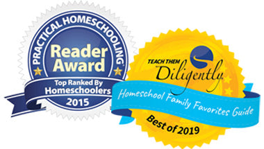 Award winning homeschool curriculum logos - Practical Homeschooling 2015 and Teach Them Diligently 2019