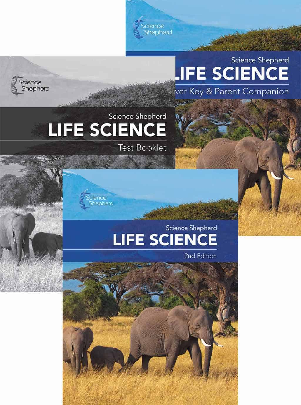 Science Shepherd Life Science homeschool curriculum with textbook, test book and answer key covers