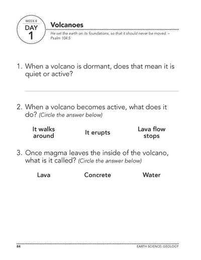 Science Shepherd Homeschool Introductory Science Workbook Level A week 8 day 1 page