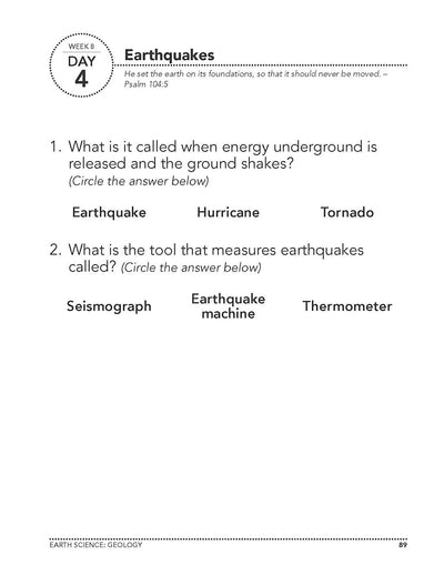 Science Shepherd Homeschool Introductory Science Workbook Level A week 8 day 4 page