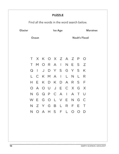 Science Shepherd DVD or online Introductory Science homeschool Workbook Level B word search page