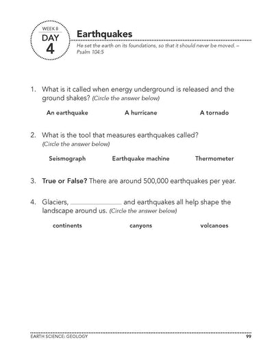 Science Shepherd Homeschool Introductory Science Workbook Level B week 8 day 4 page