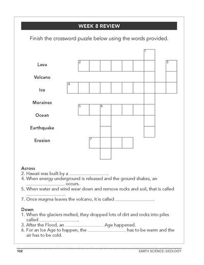 Science Shepherd Homeschool Introductory Science Workbook Level B crossword puzzle page