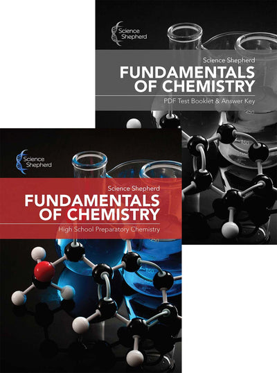 Science Shepherd Fundamentals of Chemistry homeschool curriculum cover of textbook and test/answers