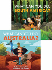Children's board book covers for What Can You Do, Australia? and What Can You Do, South America?
