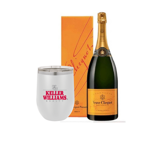 Personalized Tumbler and Champagne Veuve Yellow Label