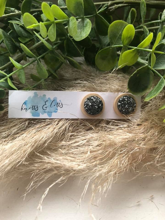 Charcoal stardust studs with wood backing