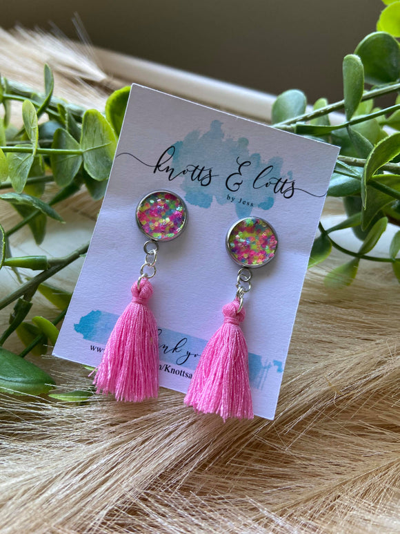 Pink Tassels with 100 & 1000s Vinyl Resin Studs