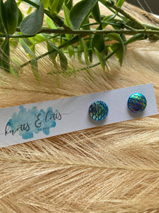 Metallic Blue Mermaid Studs