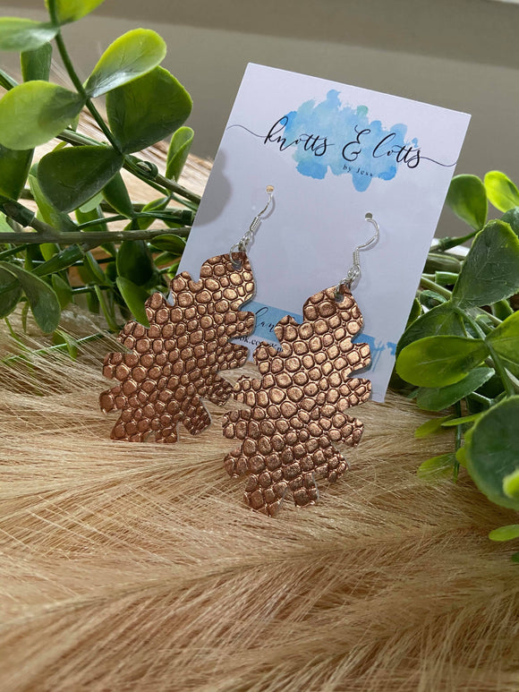 Metallic Bronze Leaf Earrings