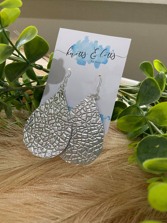 Silver Foil vinyl Earrings Teardrop