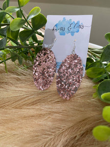 Rose Chunky Glitter Oval Earrings